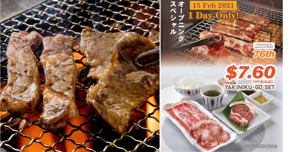 RE&S Enterprises's 76th Outlet and New Concept, Yakiniku-GO Opens with $7.60 Grand-Opening Set Promotion on 15 February 2021!