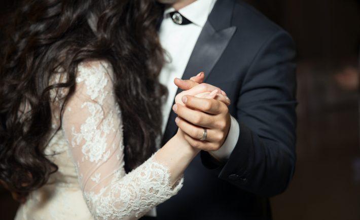 a wedding couple dancing