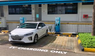 an EV charging point in Singapore