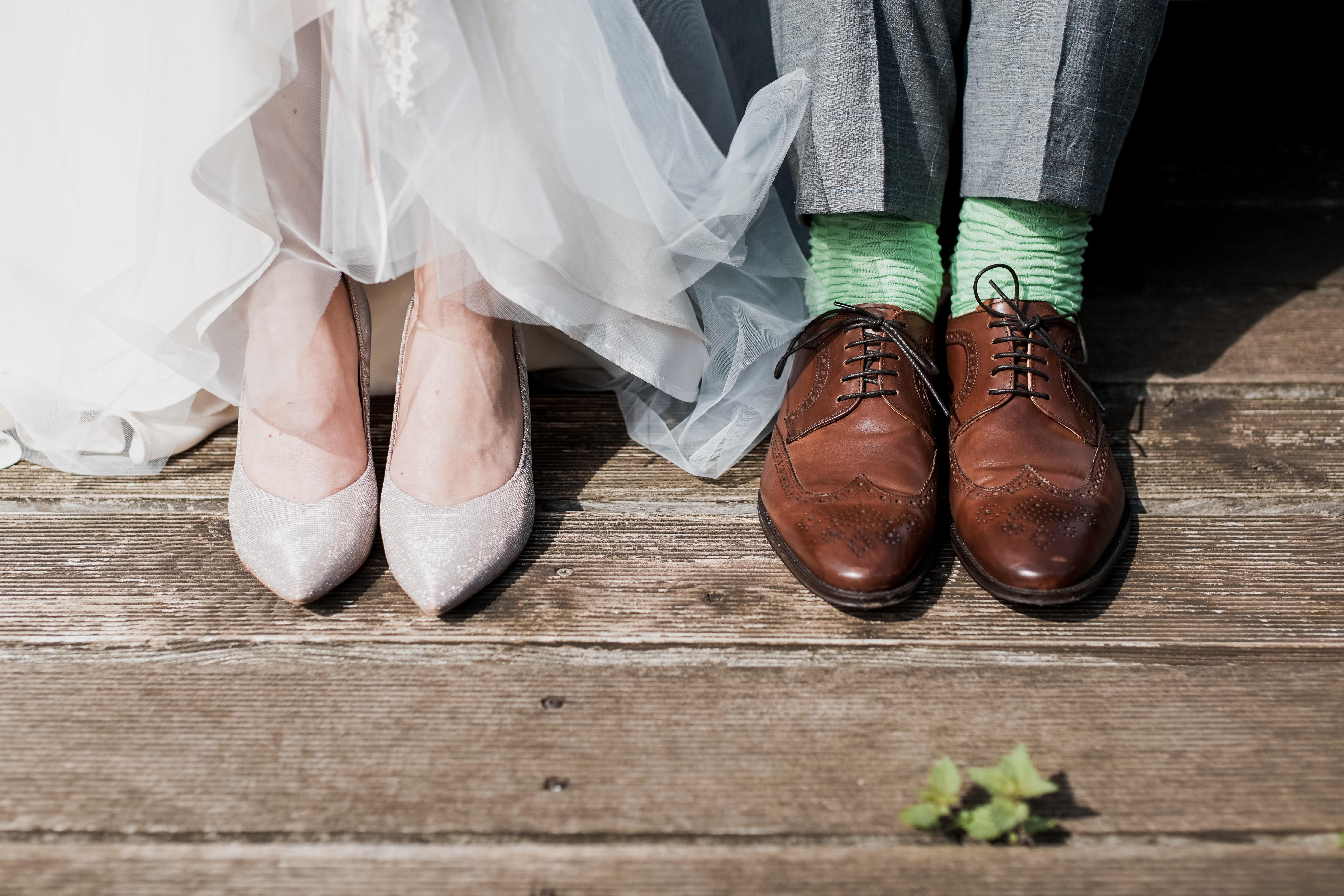 a wedding couple's shoes