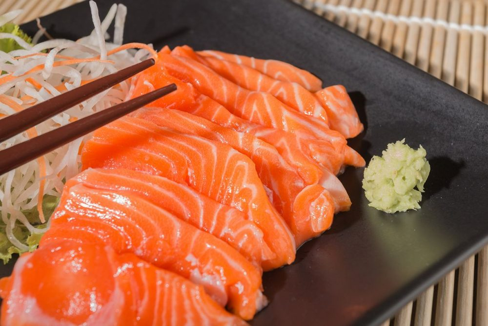salmon platter with wasabi