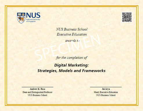 verified digital certificate by NUS Business School