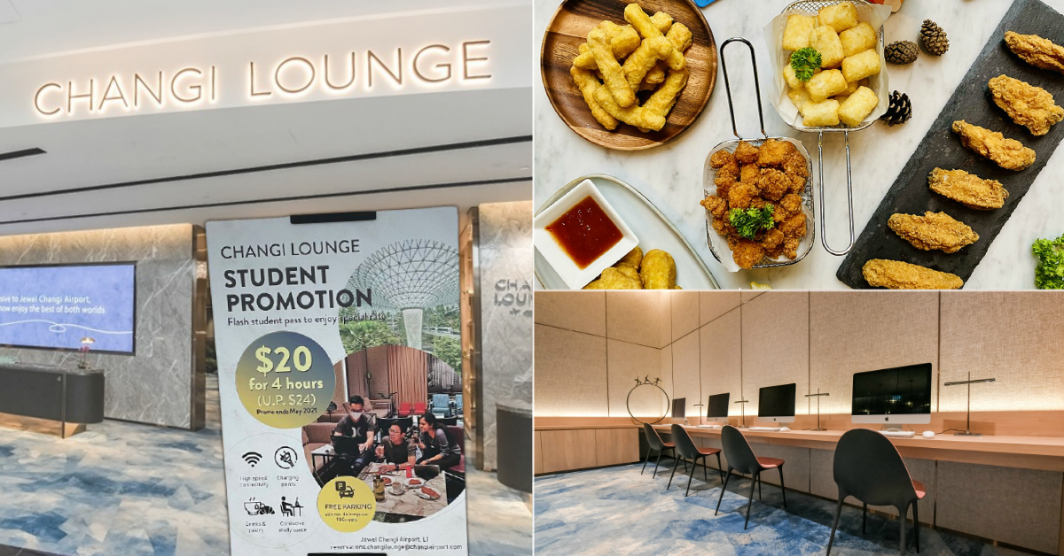 Students Can Access Changi Lounge @ Jewel Changi Airport At $20 For 4 Hours, Comes With Free Wi-Fi, Snacks, Drinks and Parking