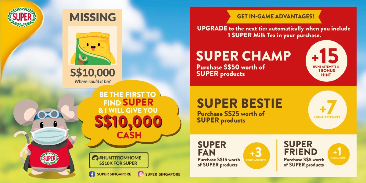 Keep Calm, Drink Tea, Find SUPER — S$10,000 CASH PRIZE to be given away in SUPER Virtual Hunt Campaign