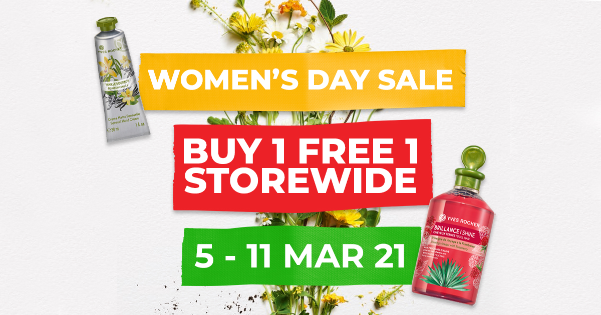 Buy 1 Get 1 Free Storewide at Yves Rocher from 5 - 11 Mar 21, Because #InternationalWomensDay