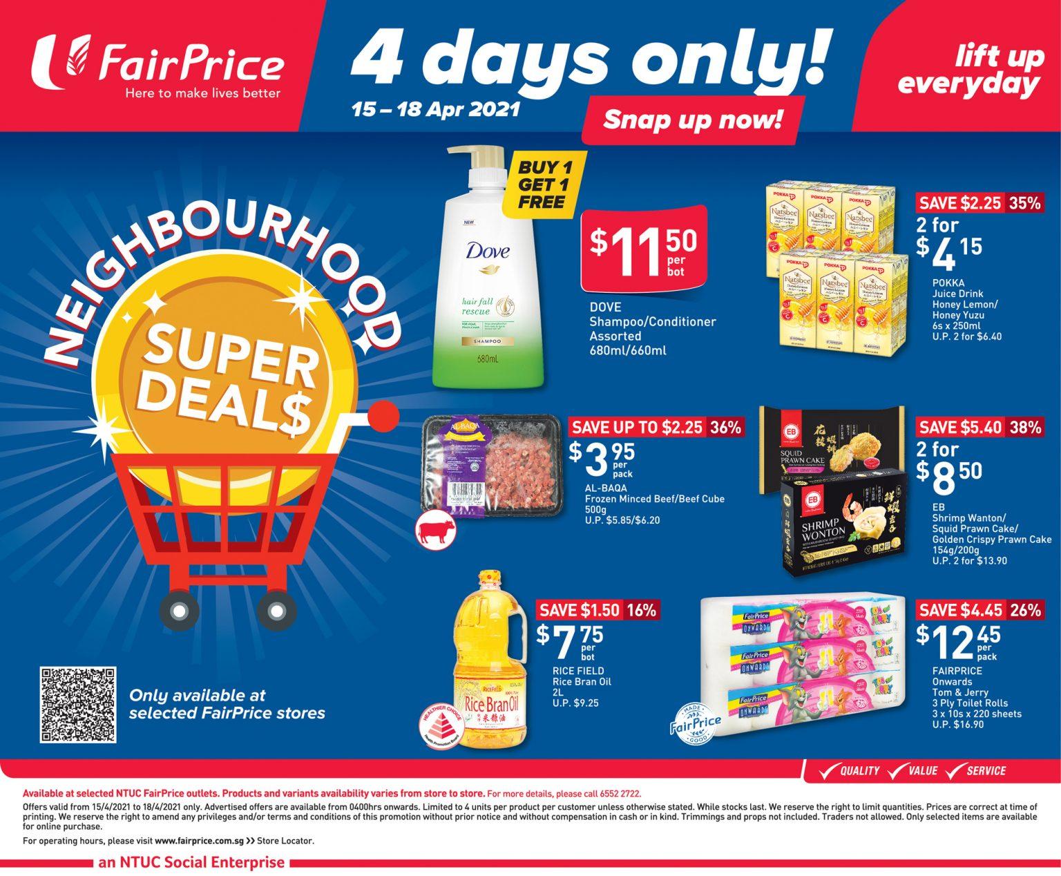 4 days only FairPrice neighbourhood super deals 15 April 2021