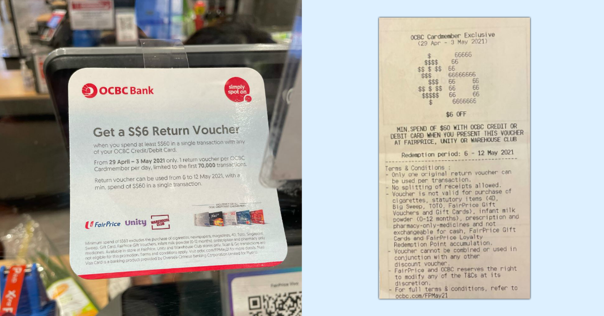OCBC Cardmembers can get a $6 return voucher at FairPrice (min. spend $60) from now till 3 May 21
