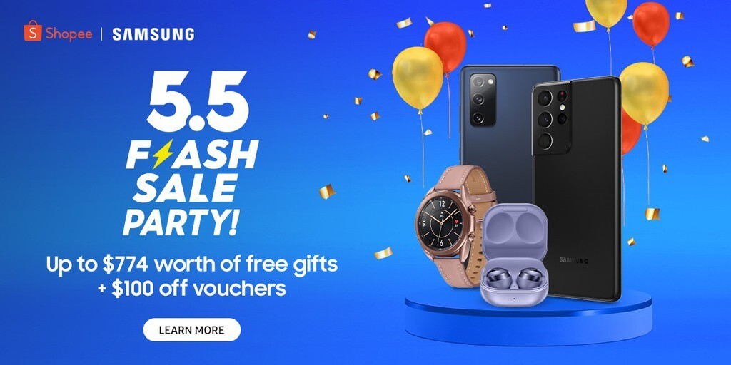 Receive Samsung Galaxy Watch Active2, Galaxy Buds Live Earbuds & more with purchase of Galaxy S21 smartphones during the Samsung 5.5 Flash Party on Shopee