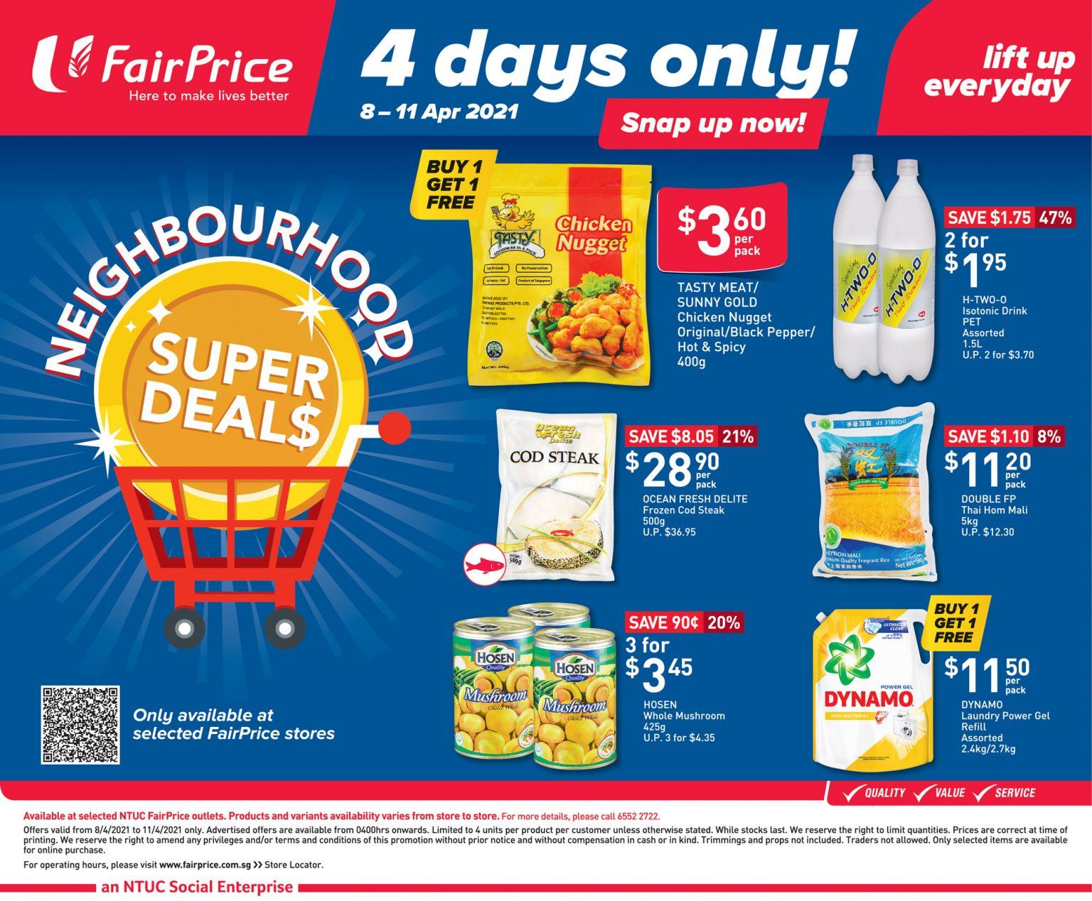 FairPrice 4 days only neighbourhood super deals till 11 April 2021
