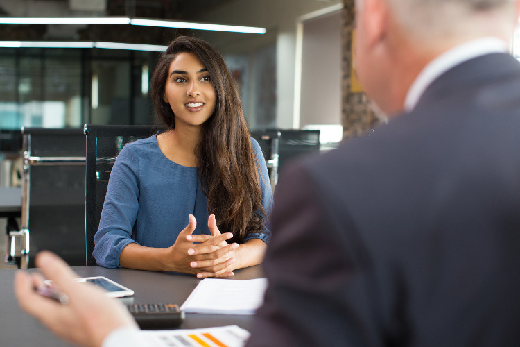 a female candidate in an interview