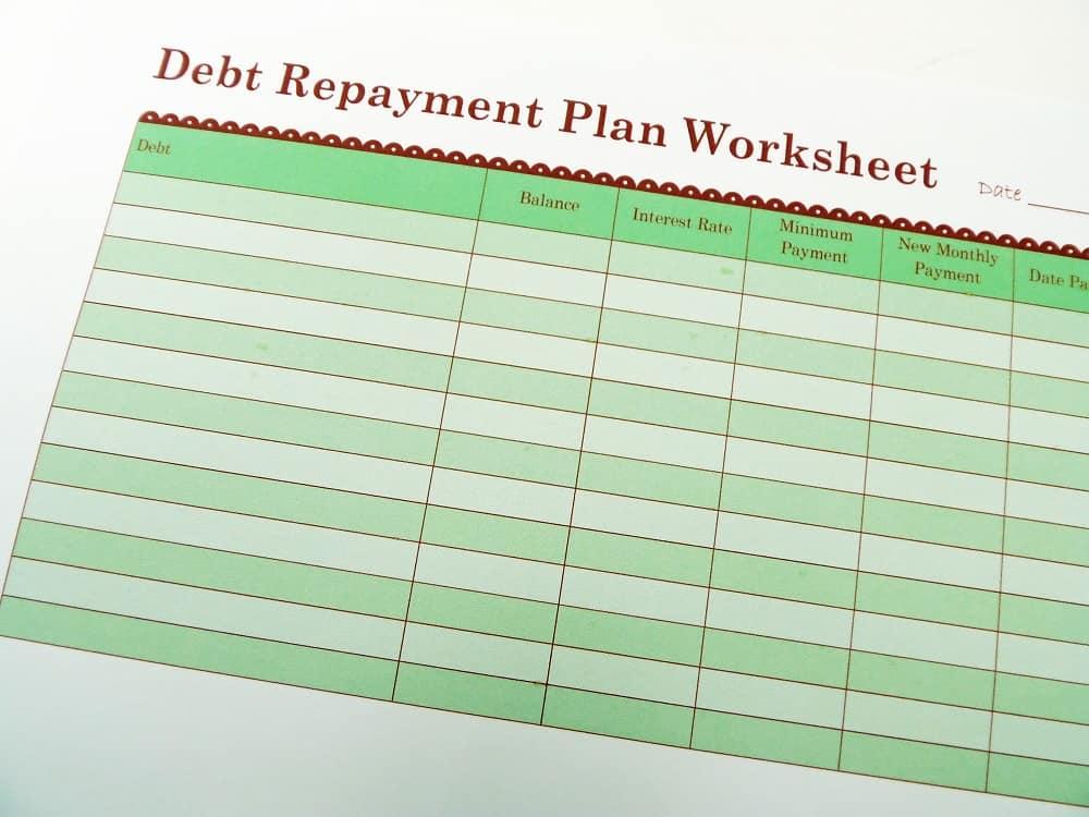 debt repayment plan template