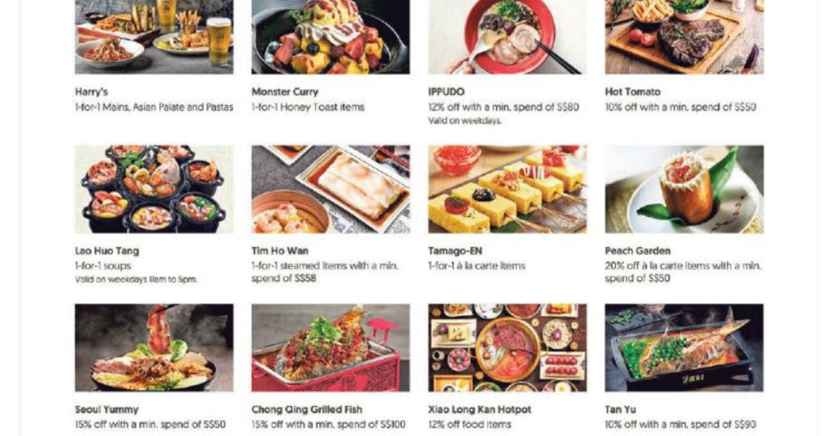 OCBC: Over 80 1-for-1 and up to 30% off dining deals for cardmembers from now till 30 Jun 2021