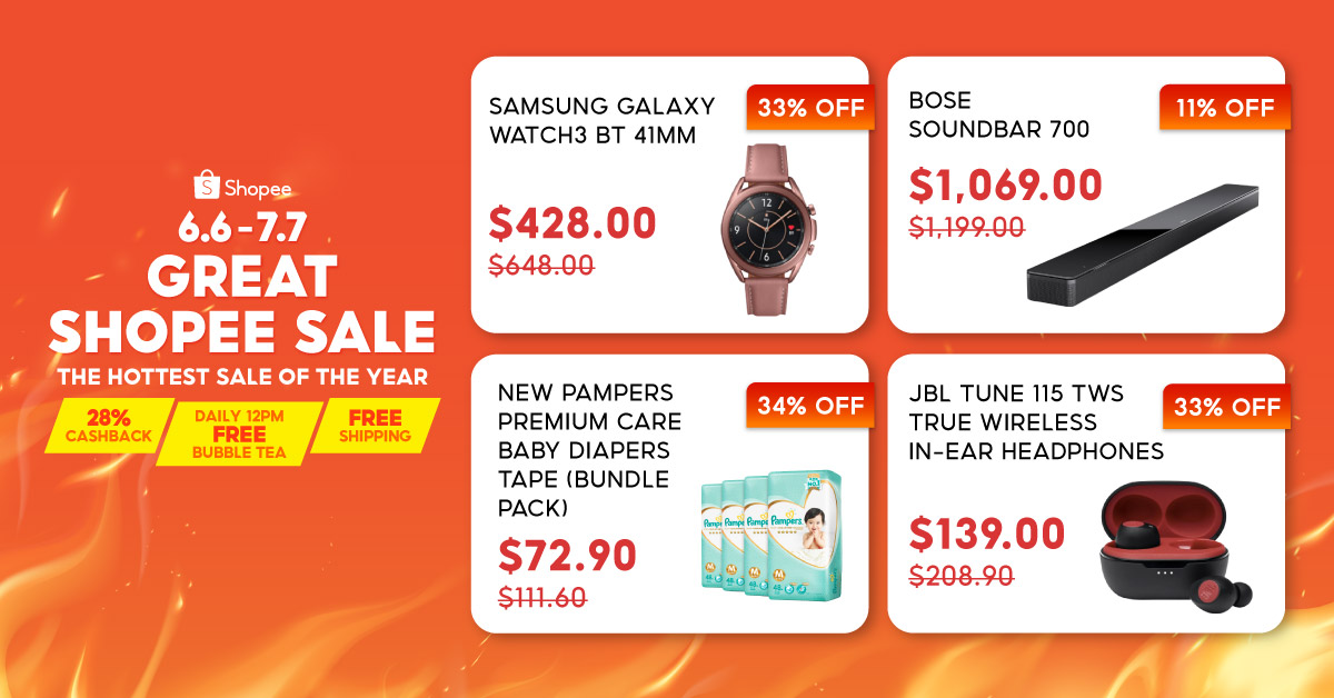 Shop Samsung, JBL, Pampers and Bose during the 6.6 - 7.7 Great Shopee Sale with 28% Cashback & Daily 12pm Free Bubble Tea!