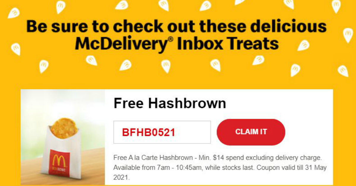 Can't dine in? McDonald's released 5 promo codes when you order McDelivery from now till 31 May 21
