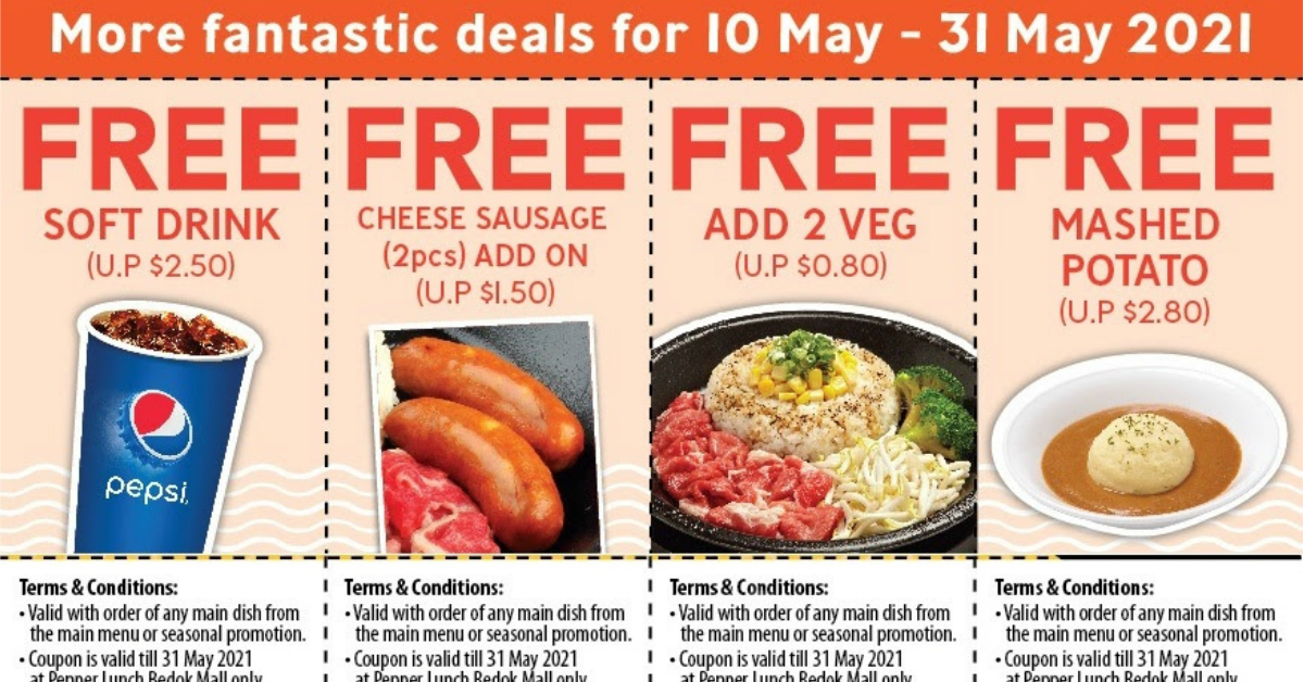 4 Pepper Lunch Coupons You Can Use From 10 - 31 May 2021