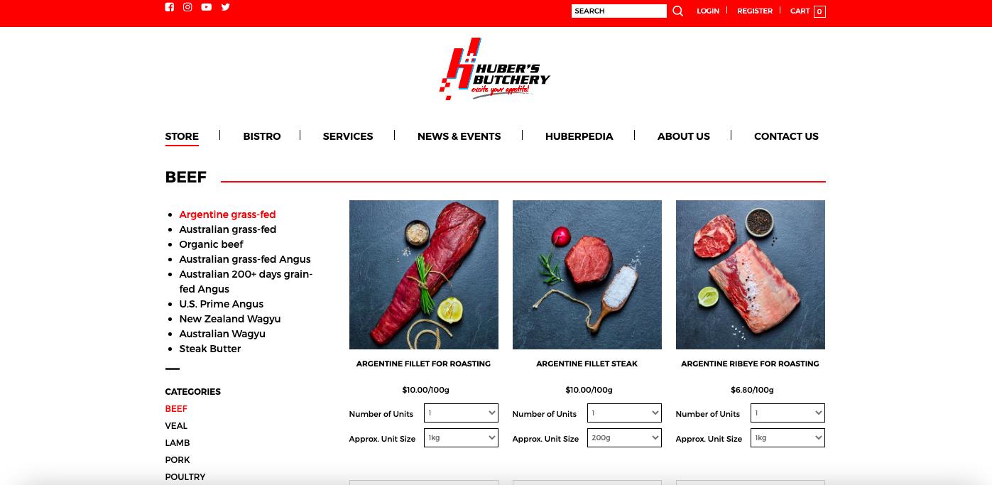 Huber's Butchery's homepage