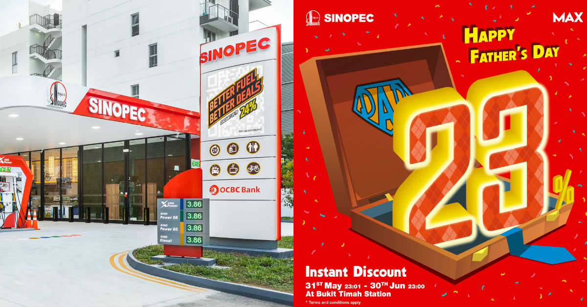 Sinopec offers 23% instant discount at Bukit Timah Station from 31 May - 30 Jun 2021
