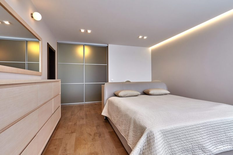 a room with a double bed