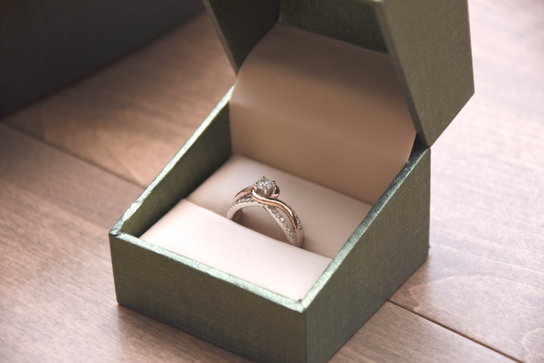a diamond ring in a box