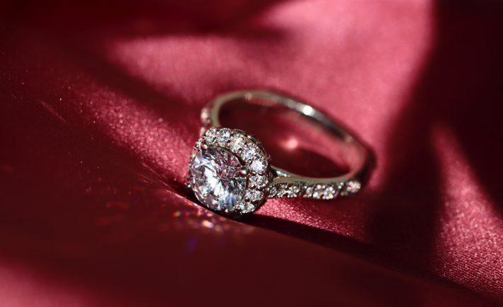 a silver diamond ring