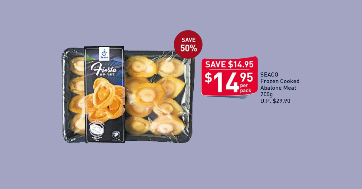 FairPrice selling abalones at 50% off, cost only $1.50/pcs with this offer from 10 - 16 Jun 21