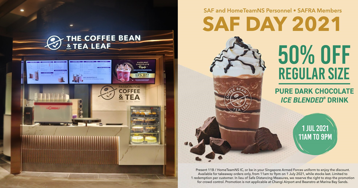 50% off Pure Dark Chocolate Ice Blended Drink at The Coffee Bean & Tea Leaf for SAF and HomeTeamNS Personnel on 1 Jul 21