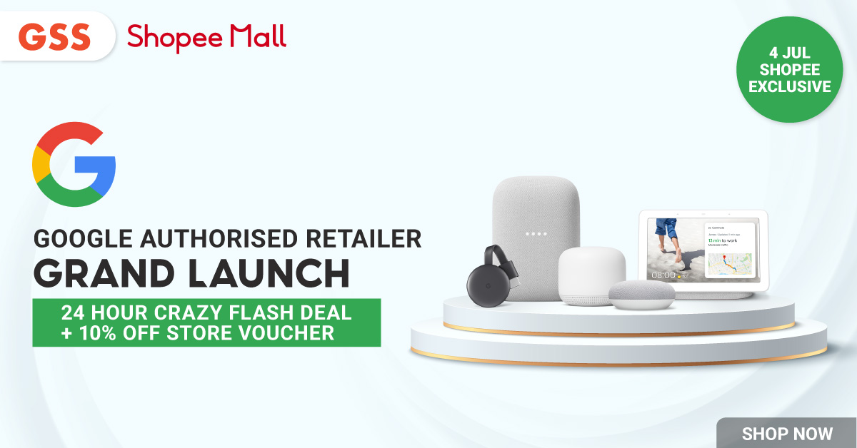 Google Authorised Retailer to launch exclusively on Shopee on 4 July, offers 10% off storewide voucher with 18% Shopee GSS cashback voucher