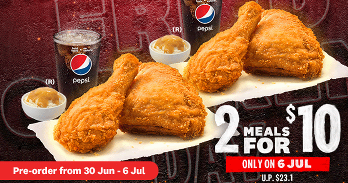 KFC S'pore celebrates International Fried Chicken Day with 2-Meals-For-$10 Promotion On 6 July 2021