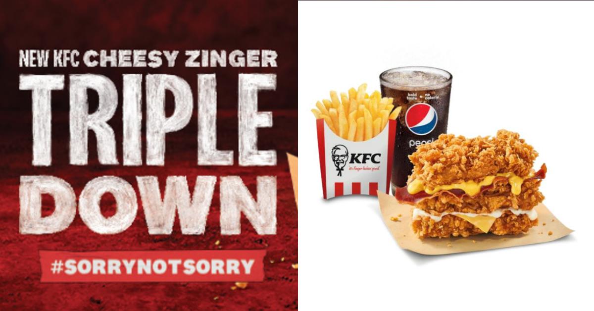 KFC to launch the new KFC Cheesy Zinger Triple Down Burger from 24 Jun - 3 Jul 2021