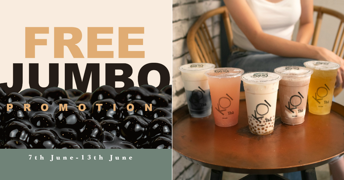 KOI Thé offering free JumBo pearl toppings at 11 outlets from 7 - 13 Jun 2021