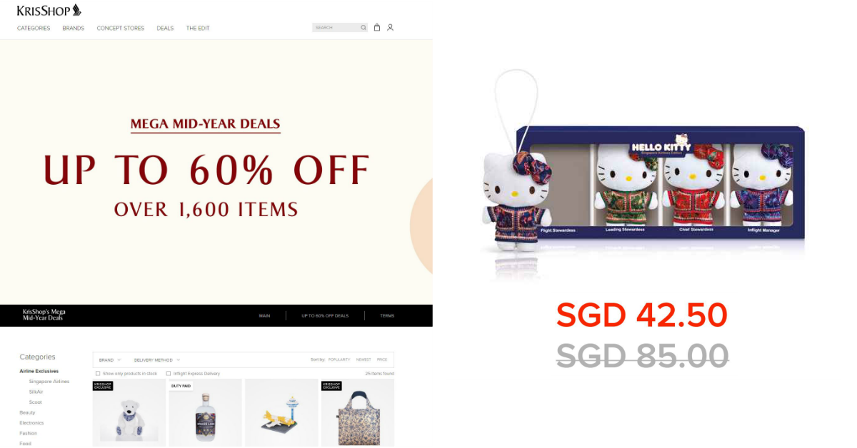 KrisShop's Mega Sale has over 1,600 items at up to 60% off, including SIA-Hello Kitty Set at half price