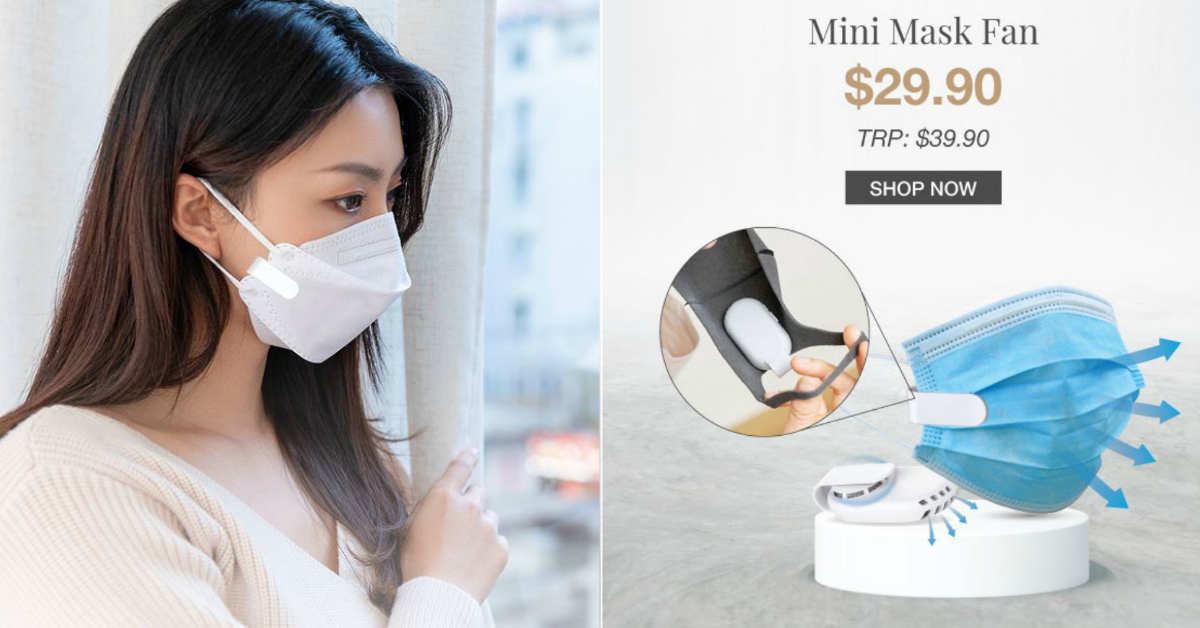 IUIGA selling mini mask fan for S$29.90 so you can keep cool when you wear a mask