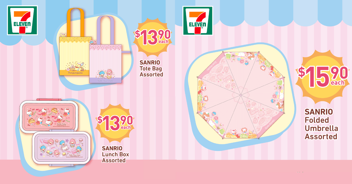 7-Eleven S'pore selling Sanrio merchandise from S$4.90, has cute Sanrio folded umbrella and cooling towel