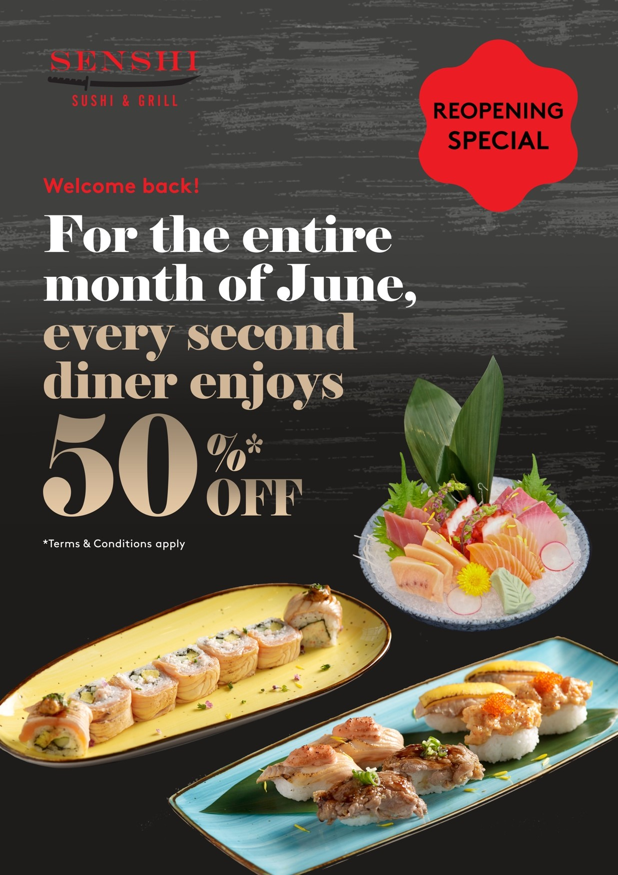Free Flow Ala Carte Japanese Buffet: 50% OFF every 2nd diner at SENSHI Sushi & Grill