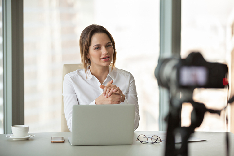 a woman recording herself