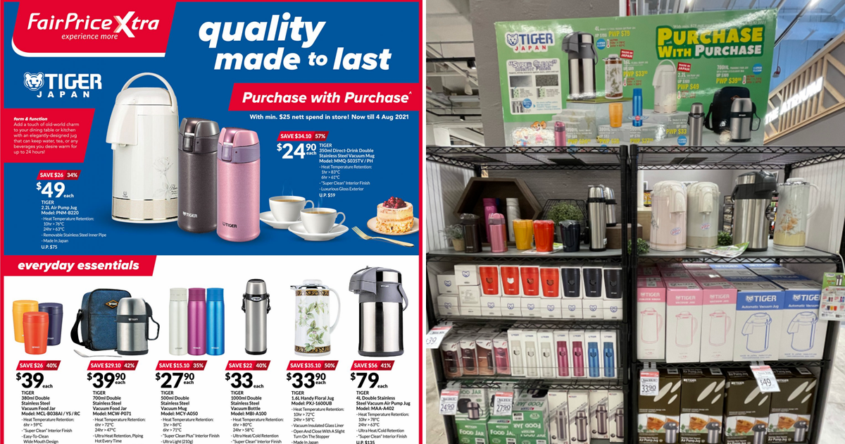 Get Tiger Japan Jars, Mugs and Bottle At Up To 57% Off When You Spend Min. $25 At FairPrice Xtra
