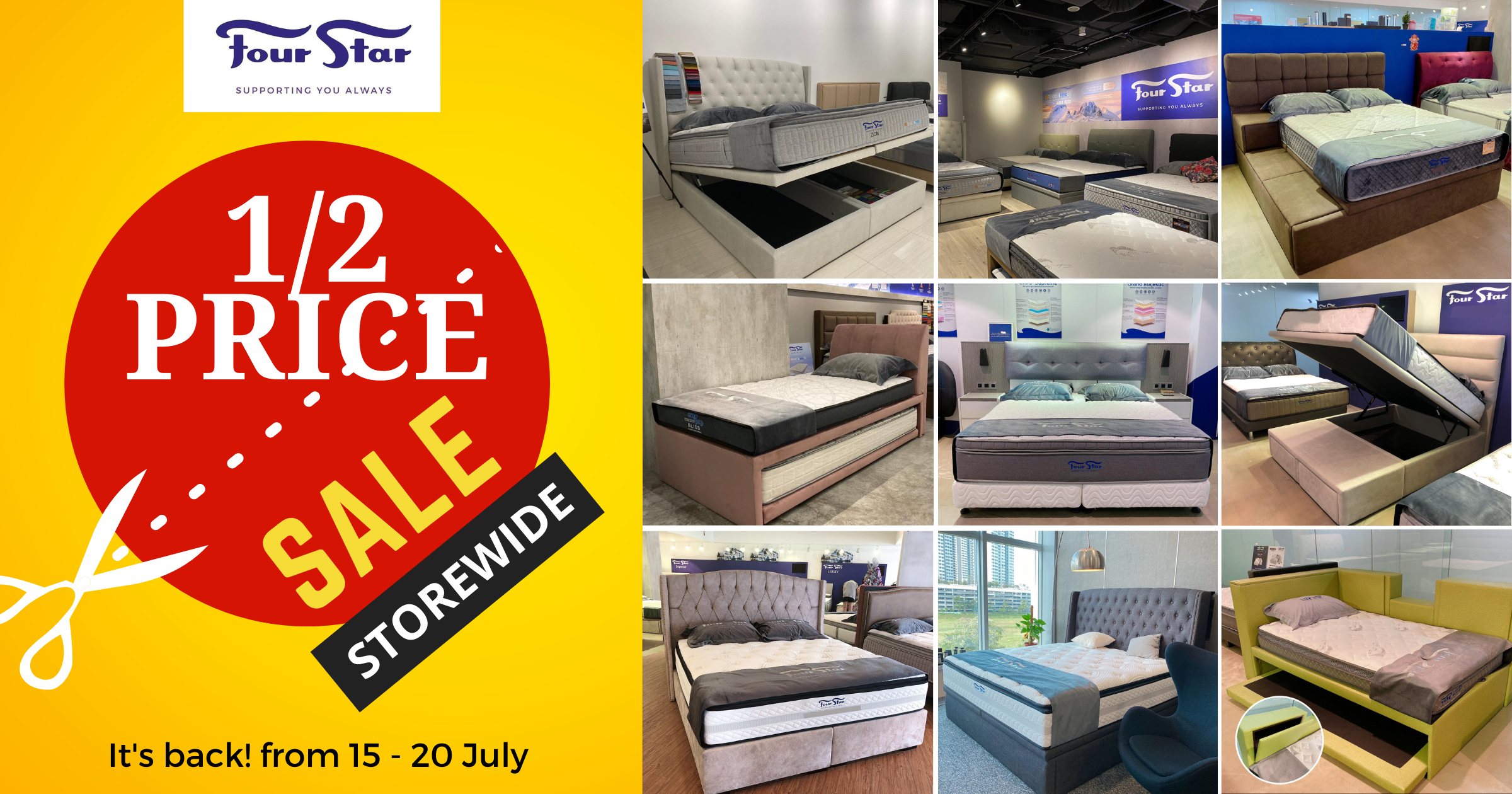 Four Star Half Price Sale is back from 15 July – 20 July