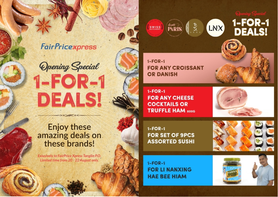 [Opening Special] 1-for-1 deals on Truffle Ham, Chef Justin Quek's Ready-to-eat Meals, Ah Ge Hae Bee Hiam and more! For one weekend only at FairPrice Xpress @ Tanglin!