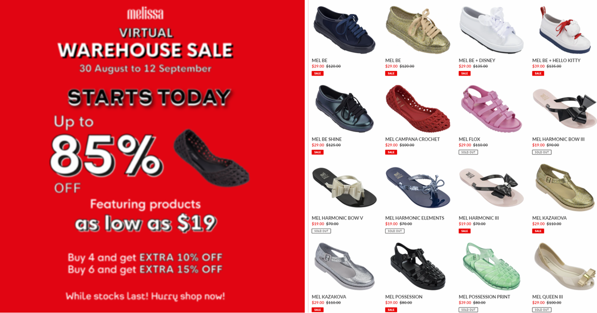 Melissa Shoes runs online warehouse sale offering discounts at up to 85% off! Price starts from $19 a pair (U.P. $100 - $150)