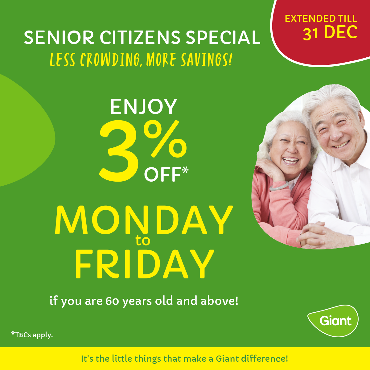 Senior citizens to enjoy 3% off groceries on weekdays as Giant S'pore extends discount till 31 Dec 2021