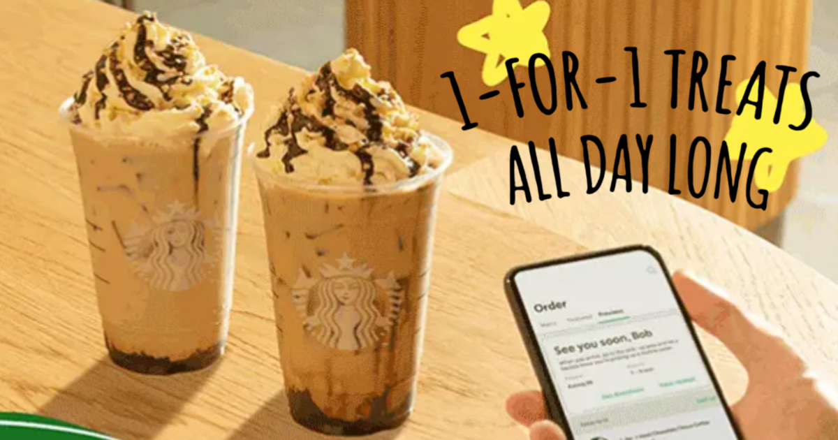 Starbucks offering 1-for-1 treats on selected beverages with Mobile Order & Pay from 2 - 6 Aug 2021