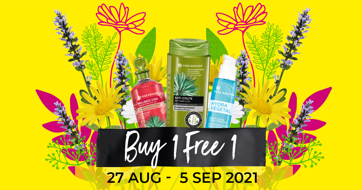 Yves Rocher Has A Buy-1-Get-1-Free Sale From 27 Aug - 5 Sep 21, Save Huge On Your Favourite Botanical Products