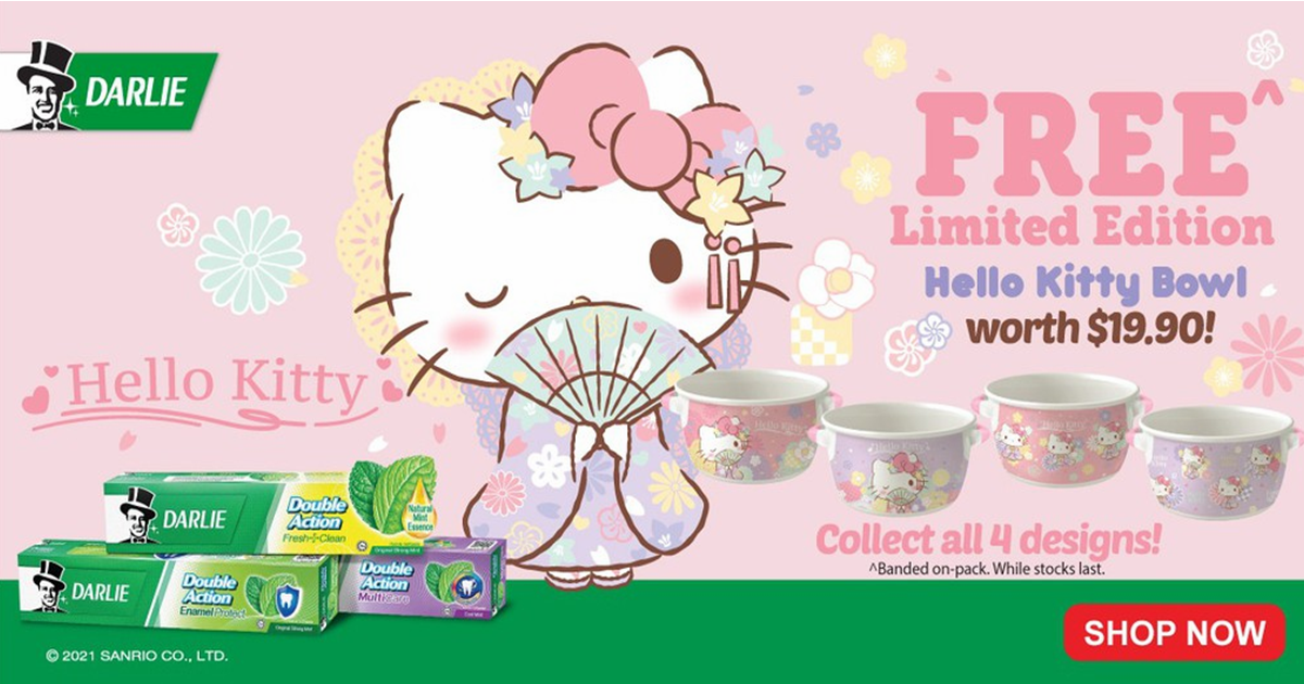 Free limited-edition Hello Kitty Kimono Styled bowls with purchase of Darlie toothpastes