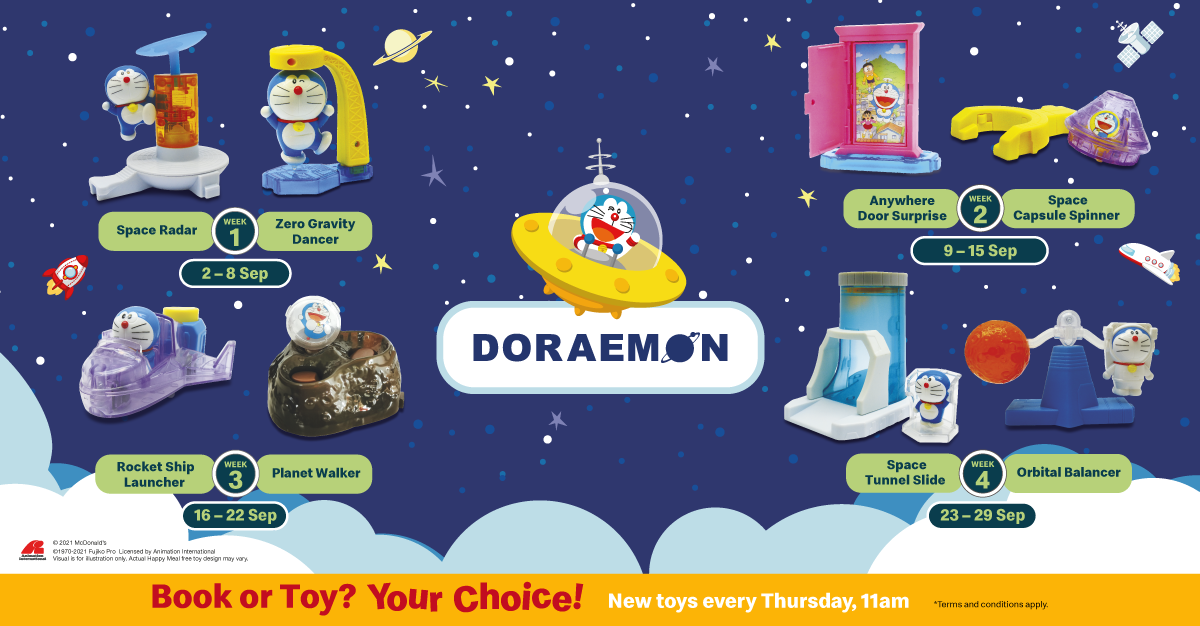Doraemon Happy Meal® Toys now available at McDonald's from 2 - 29 Sep 2021