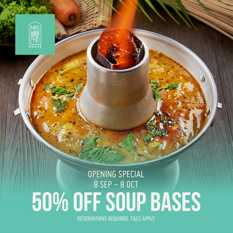 50% off Soup Bases at Mrs Pho House!