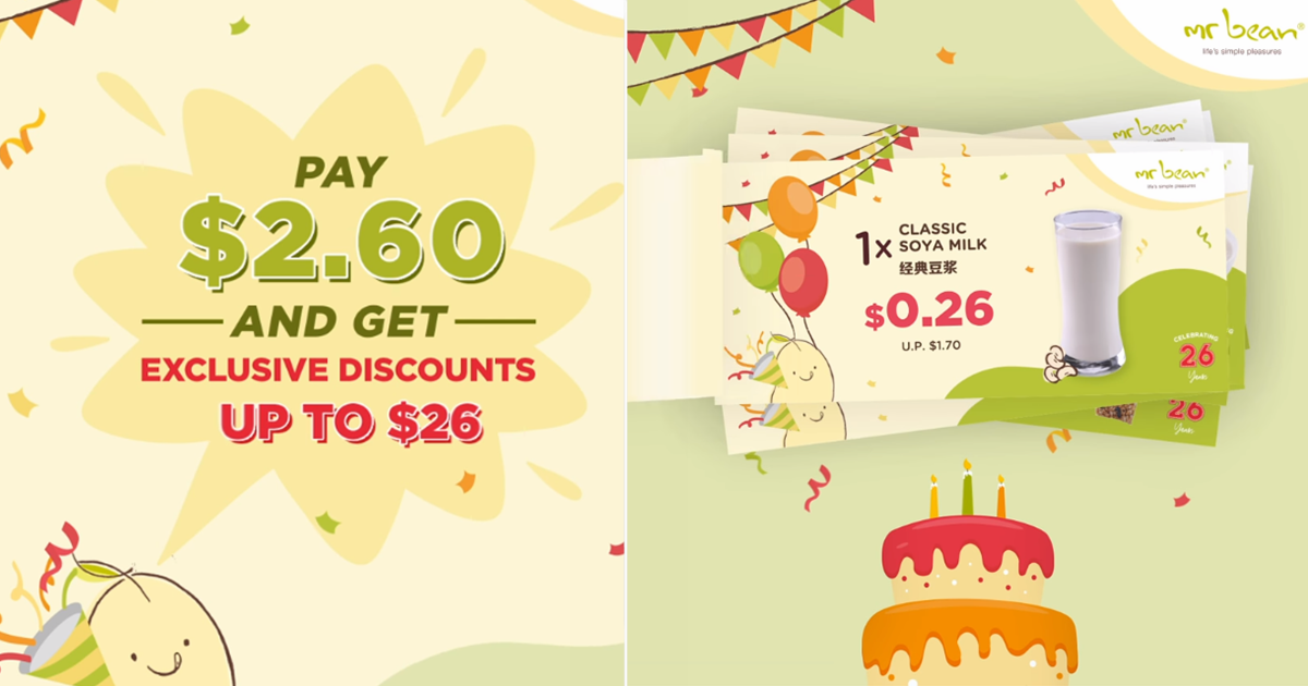 Pay $2.60 for Mr Bean Voucher Pack and enjoy deals with up to $26 worth of savings