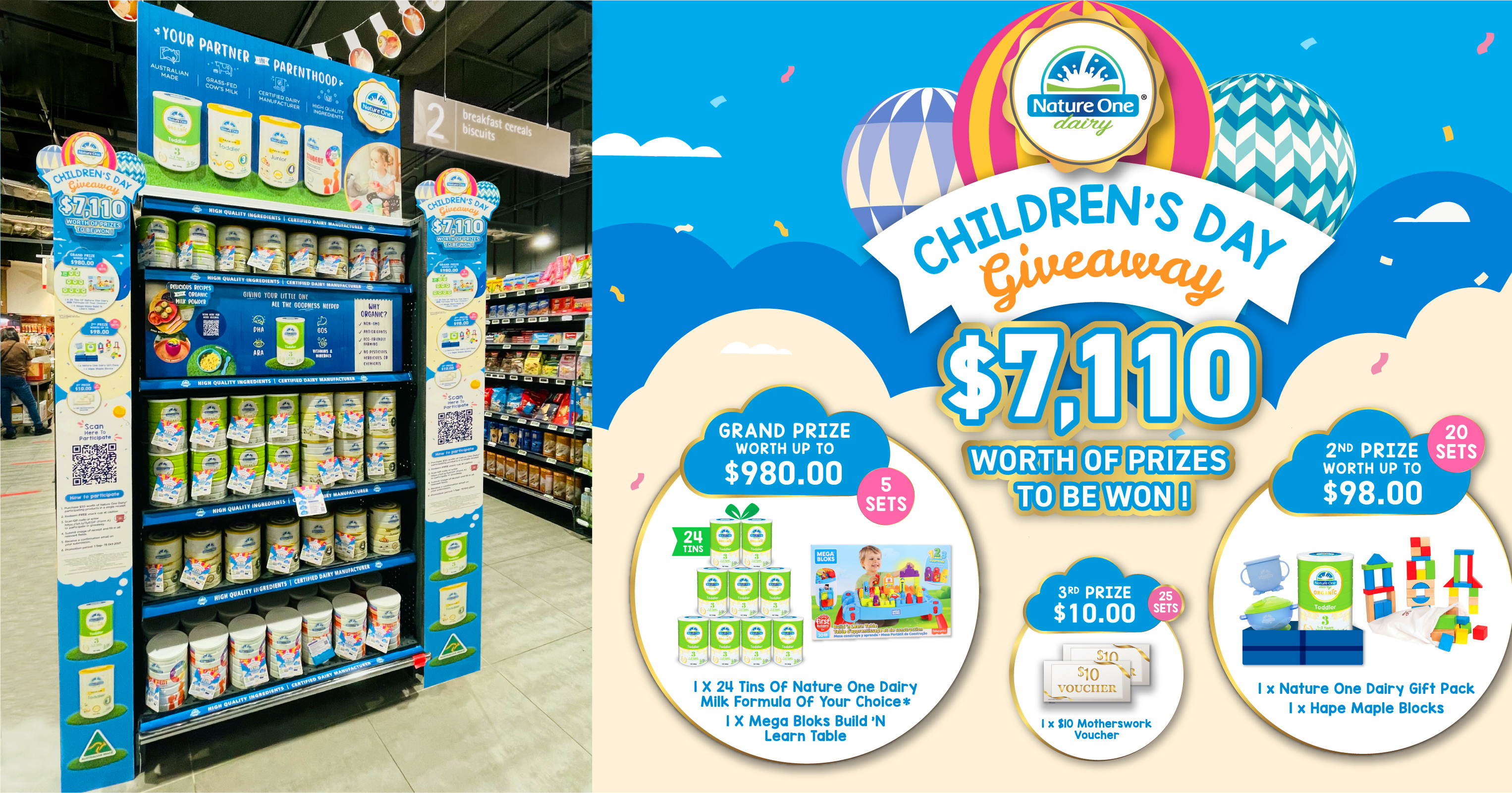 Spend $50 on selected Nature One Dairy® products and get a chance to win prizes worth up to $980!