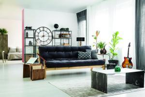 Man's apartment interior with guitar
